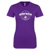 Next Level Ladies SoftStyle Junior Fitted Purple Tee-Kentucky Wesleyan Basketball Arched