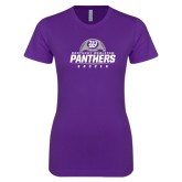 Next Level Ladies SoftStyle Junior Fitted Purple Tee-Panthers Soccer Half Ball