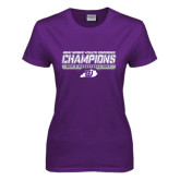 Ladies Purple T-Shirt-Great Midwest Athletic Conference Champions - Mens Basketball 2017 Stencil