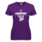 Ladies Purple T-Shirt-G-MAC Champions - Mens Basketball 2017 Net