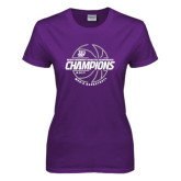 Ladies Purple T-Shirt-Great Midwest Athletic Conference Champions - 2017 Mens Basketball Lined Ball