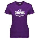 Ladies Purple T-Shirt-GMAC Softball Champions 2017 Plate