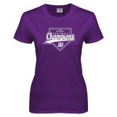 Ladies Purple T-Shirt-GMAC Softball Champions 2017 Script