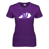 Ladies Purple T Shirt-Kentucky W