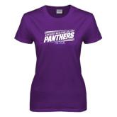 Ladies Purple T Shirt-Slanted Kentucky Wesleyan Panthers