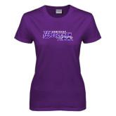 Ladies Purple T Shirt-Primary Logo Distressed