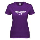 Ladies Purple T Shirt-Kentucky Wesleyan Football Stacked