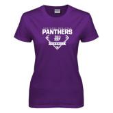 Ladies Purple T Shirt-Panthers Baseball Diamond