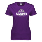 Ladies Purple T Shirt-Panthers Soccer Half Ball