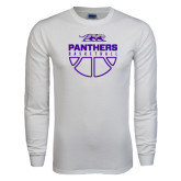 White Long Sleeve T Shirt-Panthers Basketball Stacked