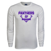 White Long Sleeve T Shirt-Panthers Baseball Diamond