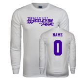 White Long Sleeve T Shirt-Primary Logo, Custom Tee w/ Name and #