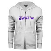 ENZA Ladies White Fleece Full Zip Hoodie-Kentucky Wesleyan