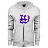 ENZA Ladies White Fleece Full Zip Hoodie-W
