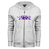 ENZA Ladies White Fleece Full Zip Hoodie-Panther