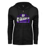 ENZA Ladies Black Fleece Full Zip Hoodie-Great Midwest Athletic Conference Champs - 2017 Mens Basketball Half Ball