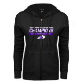 ENZA Ladies Black Fleece Full Zip Hoodie-Great Midwest Athletic Conference Champions - Mens Basketball 2017 Stencil