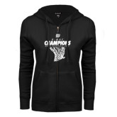 ENZA Ladies Black Fleece Full Zip Hoodie-G-MAC Champions - Mens Basketball 2017 Net