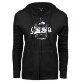 ENZA Ladies Black Fleece Full Zip Hoodie-GMAC Baseball Champions 2017