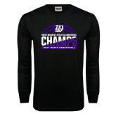 Black Long Sleeve T Shirt-Great Midwest Athletic Conference Champs - 2017 Mens Basketball Half Ball