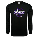 Black Long Sleeve T Shirt-Great Midwest Athletic Conference Champions - 2017 Mens Basketball Lined Ball