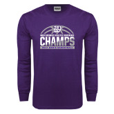 Purple Long Sleeve T Shirt-Great Midwest Athletic Conference Champs - 2017 Mens Basketball Half Ball