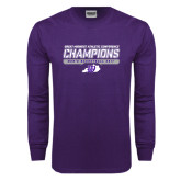 Purple Long Sleeve T Shirt-Great Midwest Athletic Conference Champions - Mens Basketball 2017 Stencil