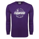 Purple Long Sleeve T Shirt-Great Midwest Athletic Conference Champions - 2017 Mens Basketball Lined Ball