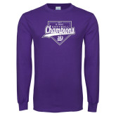 Purple Long Sleeve T Shirt-GMAC Softball Champions 2017 Script