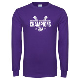 Purple Long Sleeve T Shirt-GMAC Baseball Champions 2017 Stacked