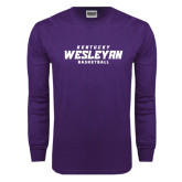 Purple Long Sleeve T Shirt-Basketball