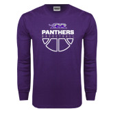 Purple Long Sleeve T Shirt-Panthers Basketball Stacked
