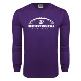 Purple Long Sleeve T Shirt-Kentucky Wesleyan Football w/ Ball