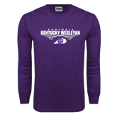 Purple Long Sleeve T Shirt-Kentucky Wesleyan Football Stacked