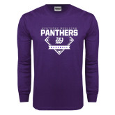 Purple Long Sleeve T Shirt-Panthers Baseball Diamond
