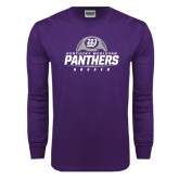 Purple Long Sleeve T Shirt-Panthers Soccer Half Ball