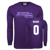 Purple Long Sleeve T Shirt-Primary Logo, Custom Tee w/ Name and #