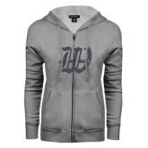 ENZA Ladies Grey Fleece Full Zip Hoodie-W Graphite Glitter