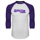 White/Purple Raglan Baseball T Shirt-Primary Logo