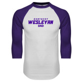 White/Purple Raglan Baseball T Shirt-Dad