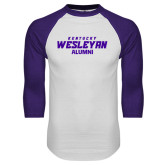 White/Purple Raglan Baseball T Shirt-Alumni