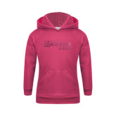 Youth Raspberry Fleece Hoodie-Primary Logo Foil