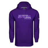 Under Armour Purple Performance Sweats Team Hoodie-Primary Logo