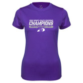 Ladies Syntrel Performance Purple Tee-Great Midwest Athletic Conference Champions - Mens Basketball 2017 Stencil