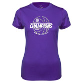 Ladies Syntrel Performance Purple Tee-Great Midwest Athletic Conference Champions - 2017 Mens Basketball Lined Ball