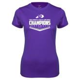 Ladies Syntrel Performance Purple Tee-GMAC Softball Champions 2017 Plate
