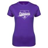 Ladies Syntrel Performance Purple Tee-GMAC Softball Champions 2017 Script