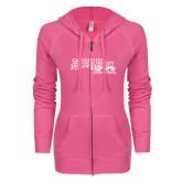 ENZA Ladies Hot Pink Light Weight Fleece Full Zip Hoodie-Primary Logo