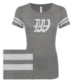ENZA Ladies Dark Heather/White Vintage Triblend Football Tee-W White Soft Glitter