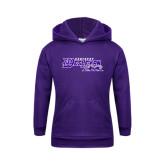 Youth Purple Fleece Hoodie-Primary Logo